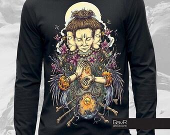 Trimurti long sleeve T-shirt men , Alternative clothing, psychedelic shirt, men's t-shirt, Art T-Shirt