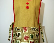 Yellow & Red Country Motif Side-Tie Cobbler Apron