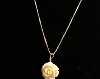 Stone rose necklace - Sterling silver chain
