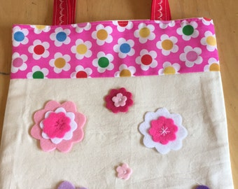 Children's/Little Girls Tote Bag #2 Red Handle, Cream Calico, Felt Flowers, Just like Mummy, Pink Floral