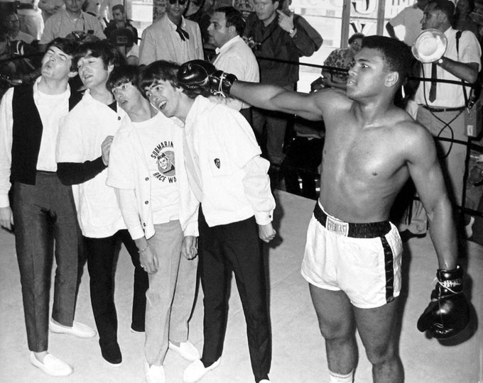 """The Beatles are """"Punched"""" by Boxer Cassius Clay Muhammad Ali - 5X7, 8X10 or 11X14 Photo (BB-570)"""