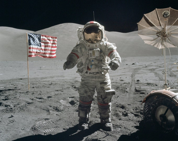 Apollo 17 Astronaut Gene Cernan Stands Near an American Flag on the Moon's Surface - 5X7, 8X10 or 11X14 NASA Photo (EP-521)