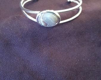 Botswana agate cuff bracelet