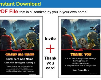 Ninjago Birthday Invite and Thank you card. FREE gift = A4 page with 8 business card size Thank you for coming message