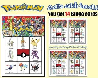 Pokémon Lotto Bingo game. Pokemon catch em all game.