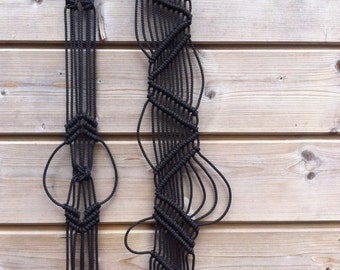 Two Black macrame - wall hanging-wall hanging - 4979