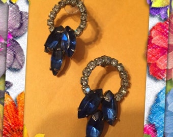 Vintage Montaya blue rhinestone earrings 1960