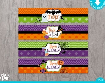 Halloween Print Yourself Water Bottle Labels, Halloween Printable Bottle Labels, Halloween Decoration