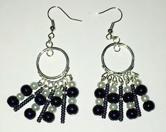Pearls and Seed Beads Chandelier Earrings