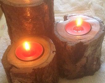 Driftwood Tealight Holders