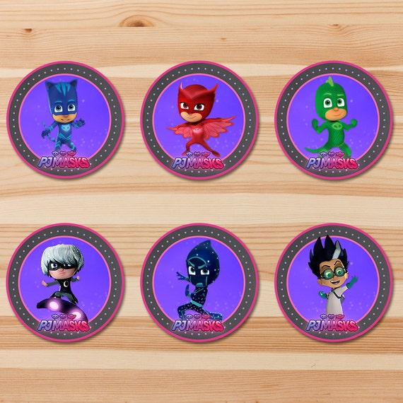 PJ Masks Birthday Cupcake Toppers - Pink Chalkboard - Girl PJ Masks Stickers - PJ Masks Birthday Girl Party - Pj Masks Party Printables 2 in