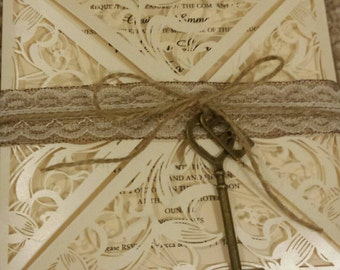 Ivory Laser Cut 'Key to my Heart' Wedding Invitation *Sample Listing*