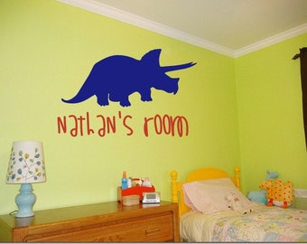 Personalized Triceratops Dinosaur Wall Decal
