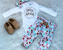 baby girl/hello world/hello world outfit/coming home outfit
