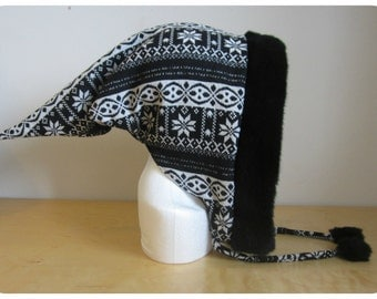 Handmade Pixie hood. Black and white/Elf hood/Festival hood/Rave hood/Hippie/Pointed hood/Faux fur hood/Pixie hat