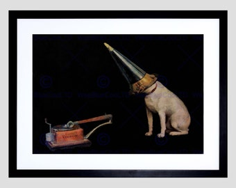 Art Print - Painting Mock Advert His Masters Voice Gramophone Dog Poster FECC6608