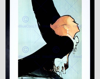 Painting Portrait Woman Leaning Glove Jewelry Art Print Poster FEBB8704