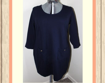 Navy Dress with Front Pockets