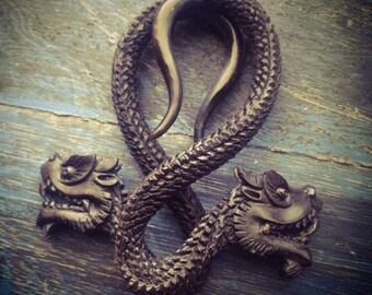Hand Carved  Ear Gauge Plugs Earrings Black Dragon Gauged Piercing 2g 6mm