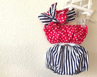 Polka dots & stripes crop top, bloomers, head wrap 4th of July set - 3 pcs