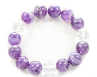 Amethyst & Rock Crystal Gemstone Bracelet | Holistic Energy Medicine
