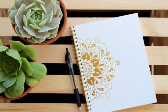 Letterpress Gold Foil Journal - 8x6 Mandala Journal