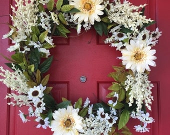 Wreath- white flowers with greenery