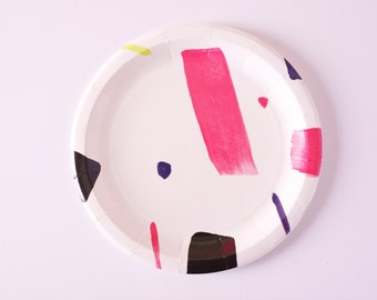 """Good Vibes - 9"""" Neon Paper Plates (10)"""