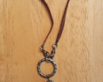 Leather and Flower Necklace
