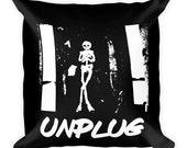 Large Square Pillow 18 X 18 -Unplug Quote Skeleton Skull Occult Symbol Wanderlust Grunge Gutter Punk Anarchist Gypsy Tattoo Black Gift Decor