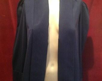 1950s Ladies Navy Blue Ladies Swing Jacket / Gaberdine Navy Blue / S-M