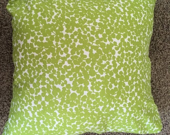 Green and White Throw Pillow