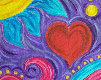 Acrylic Heart Painting ,8x10 Painting