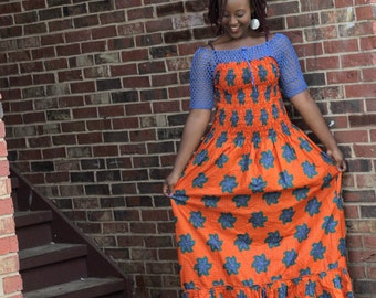 African Print Dress, Maternity Boho Dress, Women's Clothing, Crochet Gypsy Dress, Tribal Maxi Dress, Ankara Maxi Africa Dress Skirts