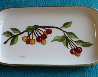 Hutchenreuther rectangular Cherry Plate, signed Clara.