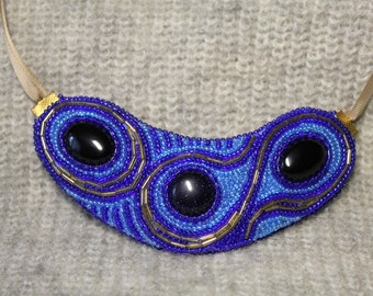 Beaded necklace, bead embroidery jewelry with stones