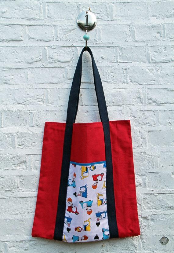 A nous Paris Cotton tote bag. Red canvas and Oui Oui Paris's Robert Kaufman fabric tote bag.