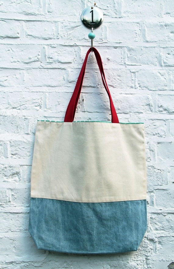 Unique and urban. Natural cream twill canvas and light blue denim tote bag.