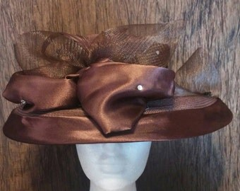 Beautiful vintage Marciano chocolate brown formal hat, free shipping