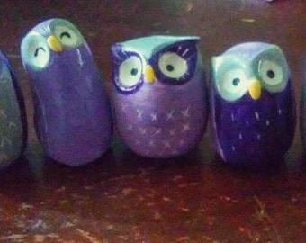 set of 5 pocket owls