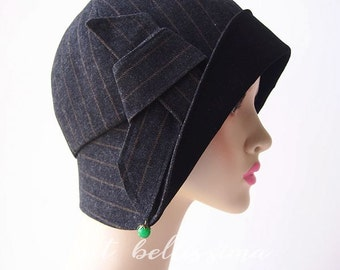 Black 1920s Cloche Hat Vintage Style hat hatbellissima