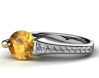 Citrine and diamond Floating Ring