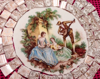 Limoge mosaic vintage china broken plate mosaic tiles- gold-shabby chic- pique assiette-cottage- id*78