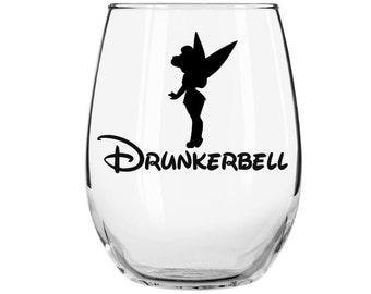 Tinkerbell Inspired Wine Glass, Drunkerbell Stemless Wine Glass