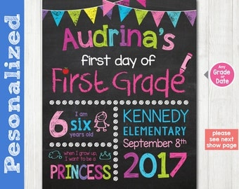 First grade First Day of School Sign - First Day of Chalkboard Sign Printable Photo Prop - Personalized Back to School Pink - ANY GRADE