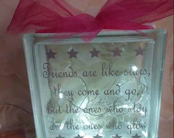 Decorative glass block with Quote, lights and ribbon choice of colours avaialable