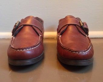 Free US Shipping | Vintage 80s Dexter Brown Leather Moccasins Loafers with Buckle | US 9