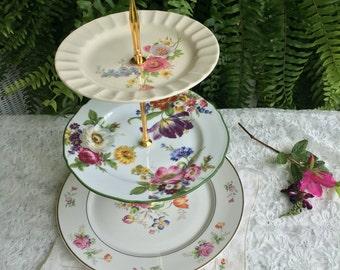 Vintage Plate 3 Tiered Dessert Stand