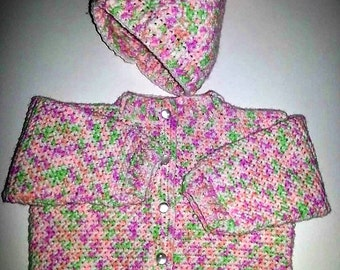 """Crocheted Baby Girl Sweater Set with whimsical """"elf"""" cap/Baby Cardigan"""