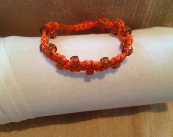 Orange Macrame Bracelet with Brown Beads with Half Hitch Knots